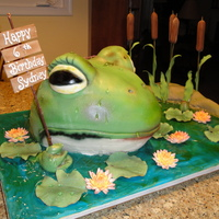Frog Wishing A Happy Birthday Frog covered in fondant, everything else gum paste, gel for water