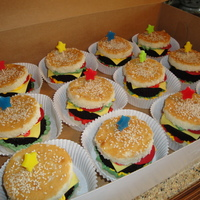 Birthday Cheeseburgers Individual birthday cheeseburgers...condiments are colored buttercream, cheese is white chocolate modeling clay, tomatoes are made with...