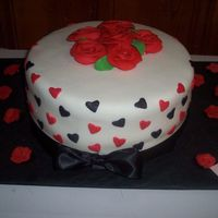 Fundraiser Valentine Cake Done for a fundraiser. Fondant with gumpaste roses.