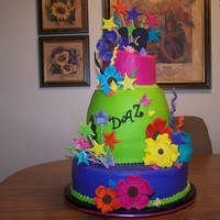 Funky Birthday Cake Birthday cake for a girl turning 13. She wanted something funky and with wild colors. All cake layers were almond poppysead with almond...
