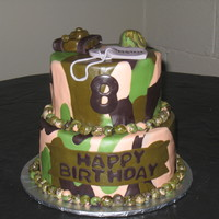 Camo Cake This was for a boy that really likes camo and army stuff. The camo is mmf, and all the decorations are sculpted from mmf as well. The dog...