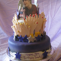 Justin Bieber Birthday Cake This cake was for a little girls 11th birthday. I took the idea of the hands from the Wilton bridal shower cake. When I think of these...