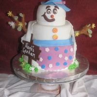 "Summer Snowgirl Cake My mom loves snowmen so for her birthday this year I made her a summer Snowgirl cake! (Her bday is June22). I was going to do a ""..."