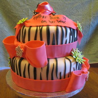 Diva Baby Shower This cake was for a baby shower with a diva theme. All fondant work with gumpaste baby shoes on top. Hand cut each zebra stripe. Silver...