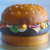 3D Cheeseburger Cake This cake was for my sons 14th birthday. All veggies are fondant. TFL