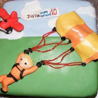 40Th Birthday Cake - Parachute Theme   40th Birthday cake with a parachuting theme. Chocolate sponge with chocolate BC and fondant covered