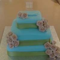 Blue And Green Wedding Cake!