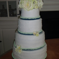 Blue/green Peony Wedding Cake   This cake was for my best friends wedding. Her colors will blue and green and she had peonys and hydrangeas as her flowers.