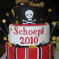 "Reunion Cake 12"",10"",8"", fondant covered rkt treasure chest and cannon."