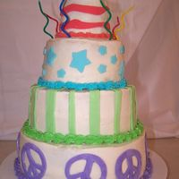 "8Th Birthday Cake My daughter asked me if I could make her a four tiered cake for her birthday this year, and of course I said, ""Yes!"" She drew me..."