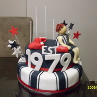 30Th Cake Made for my cousin who supports Collingwood and is into boxing. All fondant