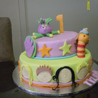 Hi-5 Birthday Cake This is for a friends little girl who turned 1. Everything is fondant. Thanks for looking:)