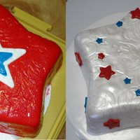 4Th Of July White cake with swirls of red & blue, filled with chocolate buttercream and covered in fondant.
