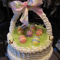 Easter Basket Cake I made this Easter Basket cake for a co-worker. Everything is edible except for the ribbon on the handle. Even the handle is edible. Happy...