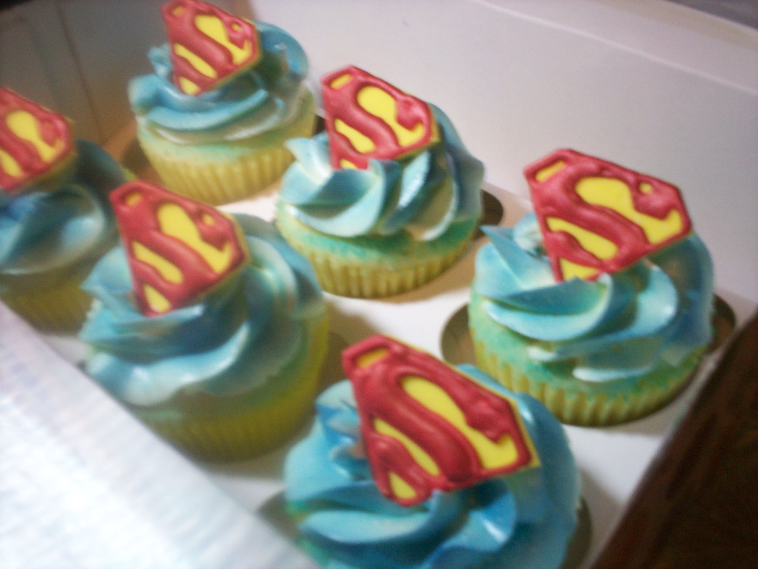 Superman Cupcakes Vanilla cupcakes with vanilla buttercream. I made the logos out of royal icing and fondant. Fun to make and hopefully the birthday boy will...