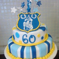 Football Team Cake Everton football cake for my stepdads sixtieth birthday. First ever stacked cake, thanks for the advice from CC'ers! It was not as...