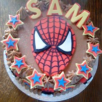 Spiderman Chocolate Cake choc cake with choc buttercream. Accents made with fondant and a bit of edible glitter!