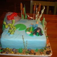 "Pond Cake This cake was for a little girl who loves salamanders and nature. She wanted a pond theme but nothing too ""cartoony"" so this was..."