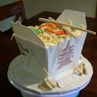 Chinese Take Out I used gumpaste for the box and did it in sections and glue them together with royal icing. the lo mein is fondant. chopsticks and fortune...