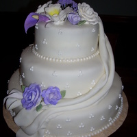 Weding Cake With Sugar Flowers And Draping This was my first attempt at making gumpaste flowers.