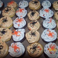 Halloween Cupcakes   Easy cupcakes...vanilla cupcakes with orange buttercream frosting and chocolate cupcakes with cream cheese frosting.