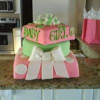 Baby Girl   My first cake covered in fondant!!