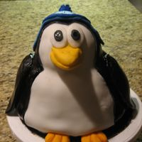 Penguin Penguin cake with snow hat