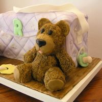Baby Stuff This is our take on the diaper bag and baby stuff. We made it for a friend's shower. The bag is cake covered in fondant. The bear and...