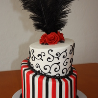 Black & Red Topsy Turvey This was my very first topsy turvey cake! happy with the result! Covered with BC, fondant stripes. TFL