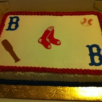 Bosto Red Sox Sheet Cake Hi,I made this cake for a church. They wanted a sheet cake with the Red Sox theme. Puertorican cake with brandy and almond flavored...