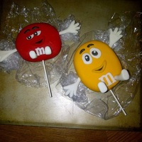 M&m's Hello everyone,My first attempt at 3D M&M's. They are made out of rice krispies and fondant. They where used as toppers on a m&amp...