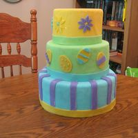 Easter Cake Side One  I decorated my first dummy cake! Don't look too close because I covered the dummy in plastic wrap first (as advised by someone!!!) and...