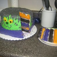 Frankencake I made a Frankencake with frosting hair and stitches and a fondant face. I used dye in vanilla cake to make the orange and purple cake and...