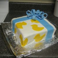Baby Shower Present Cake For Boy The inside of the cake I dyed the vanilla cake blue to go along with the boy theme