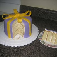 Present Cake   I made this cake to resemble a present. First time I ever attempted a fondant bow