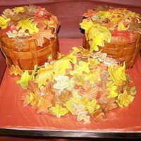 Baskets Of Leaves 2 five inch cakes with a mound in the middle