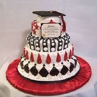 Red, White And Black Graduation This is a cake to serve 162 people. All edible except the tassel and the diploma. Three different kinds of cake.