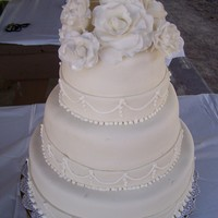 White Wedding Cake 2nd Wedding cake, first all mmf fondant and fondant roses. Thanks to CakesbyCarla for your help