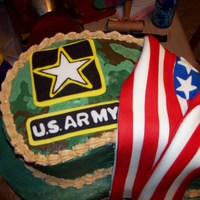 Army Strong Going away cake for Grand-son joining the army. Butterpecan cake with bavarian cream filling. Fondant patches and flag