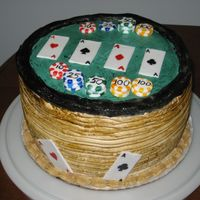 Poker Table Choclate cake with buttercream filling. The cards and chips were make with fondant and hand painted.
