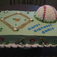 Baseball Made this cake for my nephew's birthday. Baseball is RCT covered in BC. Daimond is brown sugar.