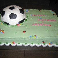 Soccer Cake Made this cake for my niece's 10th Birthday. Soccer ball is RCT covered with fondant. Ladybugs and flowers are also fondant. Cake is...
