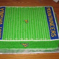 Wvu Football Field Cake A cake made for a West Virginia Mountaineers Fan. All buttercream icing.