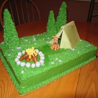 Gone Camping Made for a little girl's camping birthday party. The dog was made to look just like her dog. Buttercream icing, fondant/gumpaste...