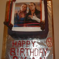 "Wwe Birthday Cake This is the WWE birthday cake I made for my grandson's 6th birthday. Matt and Jeff Hardy are edible image, black ""drape"" is..."