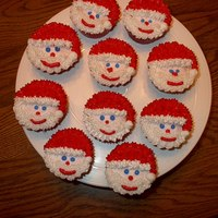 Santa Cupcakes Santa cupcakes for my grandson's kindergarten Christmas party. Yellow cupcakes with cream filling and buttercream Santa. I saw this...