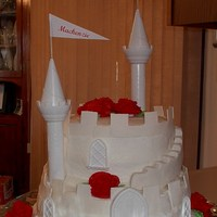 Castle Cake Castle cake made for my daughter's boyfriend's little girl who just turned 6. She wanted an all white sand castle and picked this...