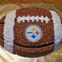 Steelers Football Cake Steelers football cake I made for my grandson's Cake Day at school. I used the Wilton football cake pan and the logo is an edible...