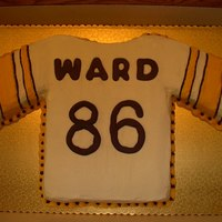 Steeler Jersey Cake--Hines Ward Steeler jersey cake for my mom's 83th birthday. She is a die-hard Steelers fan and loves Hines Ward. Strawberry cake with strawberry...