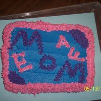 Mom My mom did not want big cake, because she is a diabetic, so I made her this little one using her favorite colors.